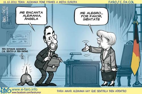Caricatura Merkel y Rajoy